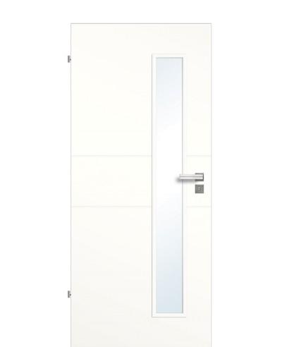 Zimmertür / Innen-Designtür Weißlack 9010 mit zwei Querstreifen/Rillen und schmalem Lichtausschnitt LA S