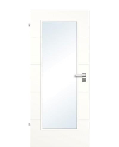 Designtür / Innenzimmertür Weißlack 9010 mit vier horizontalen Querstreifen/Rillen und großem Lichtausschnitt