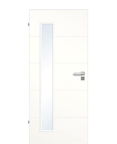 Zimmertür / Innen-Designtür Weißlack 9010 mit vier horizontalen Querstreifen/Rillen und schmalem Lichtausschnitt LA B