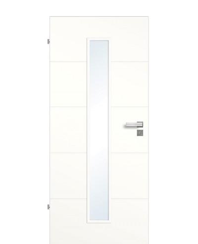 Designtür / Innenzimmertür Weißlack 9010 mit vier horizontalen Querstreifen/Rillen und schmalem Lichtausschnitt LA M