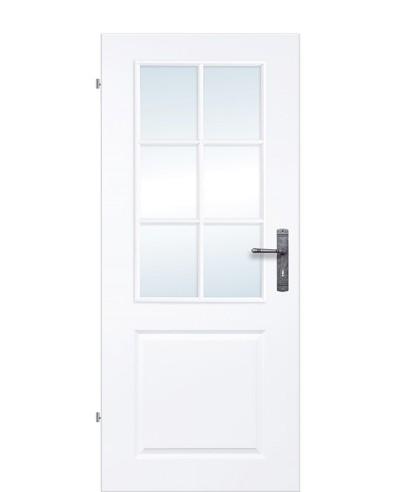 Landhaustür / Stiltür / Kassettentür Weiß mit Sprossenrahmen und sechs-Felder verglast