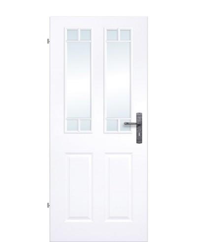 Kassettentür / Landhaustür Weiß mit Glas Sprossenrahmen 10-Felder