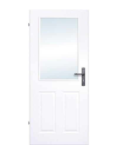 Kassettentür / Landhaustür Weißlack mit Glas