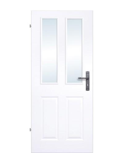 Kassettentür / Landhaustür Weiß mit doppeltem Lichtausschnitt