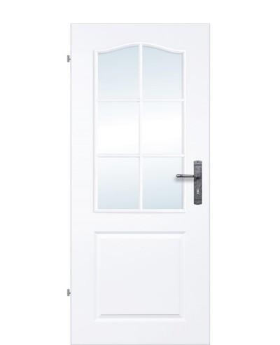 Landhaustür / Kassettentür mit 6-Felder Sprossenrahmen verglast Weißlack 9010