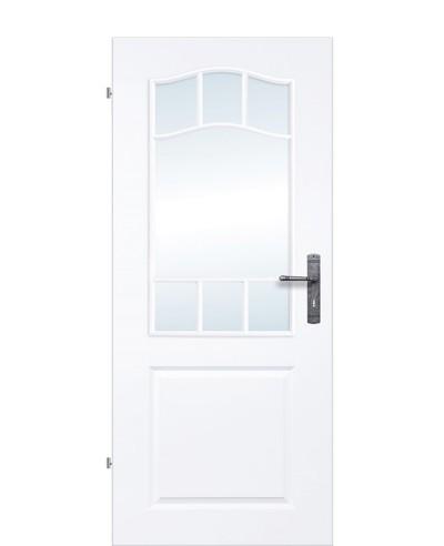 Kassettentür / Landhaustür mit Schweifbogen 7-Felder Sprossenrahmen verglast Weißlack 9010