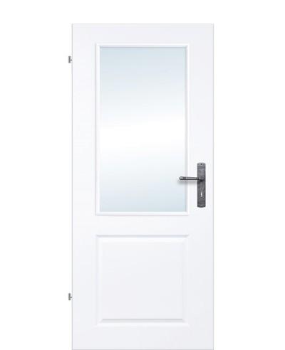 Landhaustür / Kassettentür Weiß mit großem Lichtausschnitt