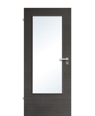 Zimmertür / Innentür Lichtausschnitt CPL Eiche Graphit quer gebürstet LA DIN