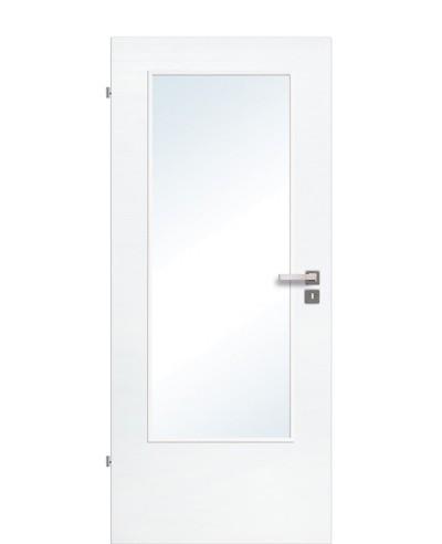 Zimmertür / Innentür Lichtausschnitt CPL Eiche Polarweiß quer gebürstet LA DIN