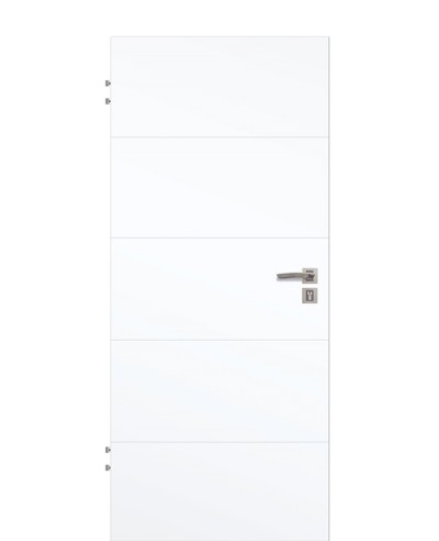 Wohnungstür Weißlack CPL 9003 mit vier Querstreifen geprägt 198,5cm