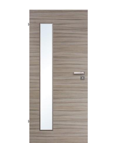 Innentür / Zimmertür Akazie Steingrau gebürstet CPL schmaler Lichtausschnitt LA B