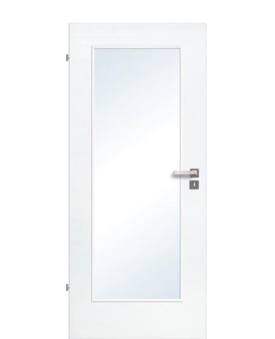 Innentür / Zimmertür Eiche Polarweiß quer gebürstet CPL schmaler Lichtausschnitt LA1