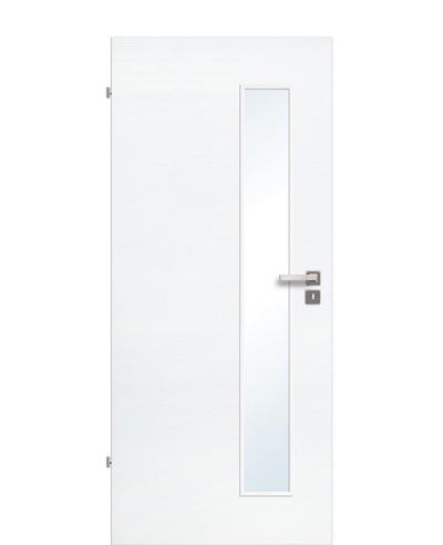 Innentür / Zimmertür Eiche Polarweiß quer gebürstet CPL schmaler Lichtausschnitt LA S