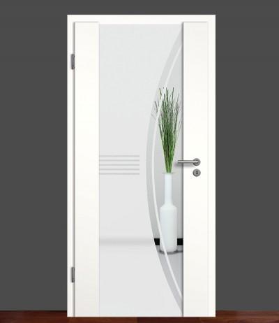 Zimmertür Innentür Türblatt Holzglastür Weißlack Sond 6 Rundkante Glastür