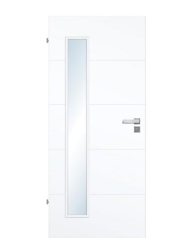 Designtür / Zimmertür Weißlack 9003 mit vier Streifen/Rillen quer und großem Lichtausschnitt LA B 198,5cm