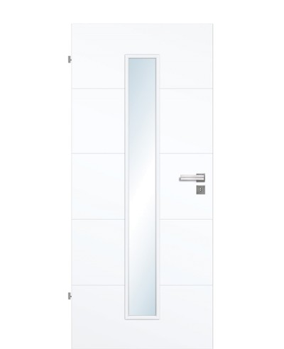 Designtür / Zimmertür Weißlack 9003 mit vier Streifen/Rillen quer und schmalem Lichtausschnitt LA M 198,5cm