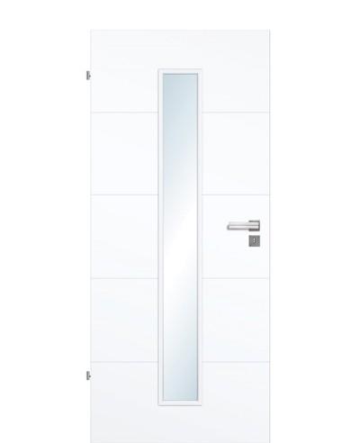 Designtür / Zimmertür Weißlack 9003 mit vier Streifen/Rillen quer und schmalem Lichtausschnitt LA M 211,0cm