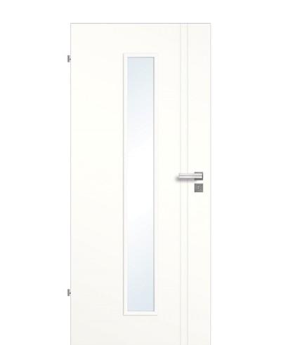 Designtür / Innenzimmertür Weißlack 9010 mit zwei vertikalen Streifen/Rillen mit schmalem Lichtausschnitt LA M