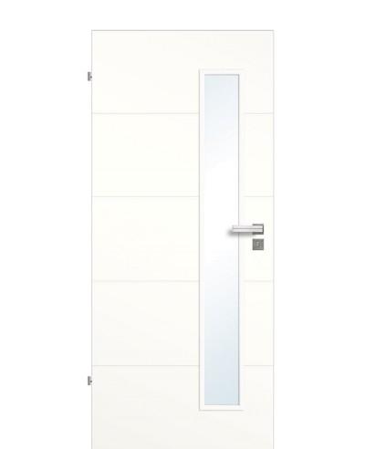 Zimmertür / Innen-Designtür Weißlack 9010 mit vier horizontalen Querstreifen/Rillen und schmalem Lichtausschnitt LA S