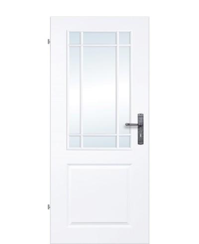 Kassettentür / Landhaustür / Stiltür Weiß mit Sprossenrahmen und neun-Felder verglast