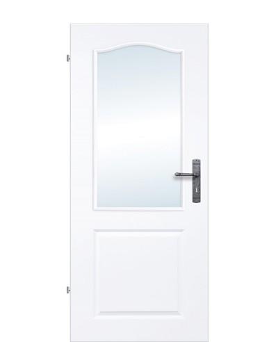 Landhaustür / Kassettentür mit Schweifbogen-Lichtausschnitt Weißlack 9010