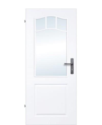 Landhaustür / Kassettentür mit 4-Felder Sprossenrahmen verglast Weißlack 9010