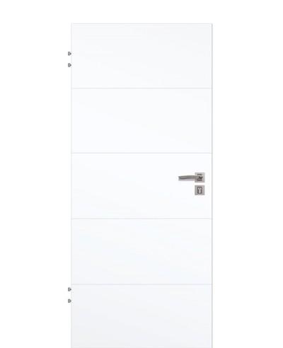 Wohnungstür Weißlack CPL 9003 mit vier horizontalen Linien/Streifen quer geprägt 211,0cm