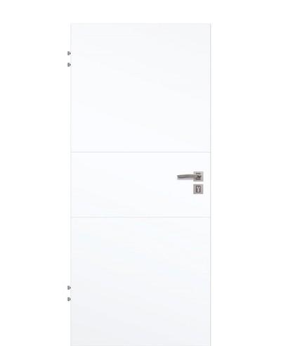 Wohnungstür Weißlack 9003 CPL mit zwei-Streifen-gefräst-quer 198,5cm