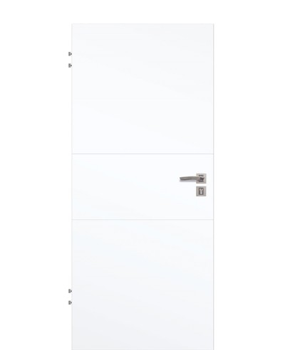 Wohnungstür Weißlack 9003 CPL mit zwei-Streifen/Linien-quer-gefräst 211,0cm