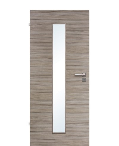 Innentür / Zimmertür Akazie Steingrau gebürstet CPL schmaler Lichtausschnitt LA M