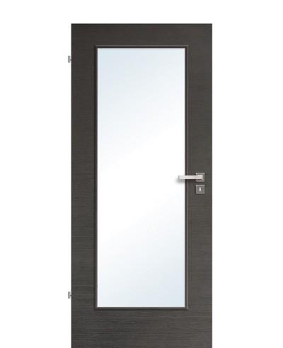 Innentür / Zimmertür Eiche Graphit quer gebürstet CPL schmaler Lichtausschnitt LA1