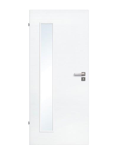 Innentür / Zimmertür Eiche Polarweiß quer gebürstet CPL schmaler Lichtausschnitt LA B