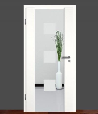 Zimmertür Innentür Türblatt Holzglastür Weißlack Sond 1 Rundkante Glastür