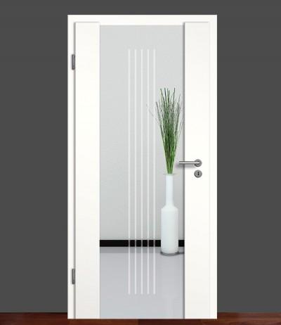 Zimmertür Innentür Türblatt Holzglastür Weißlack Sond 3 Rundkante Glastür