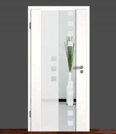 Zimmertür Innentür Türblatt Holzglastür Weißlack Sond 8 Rundkante Glastür