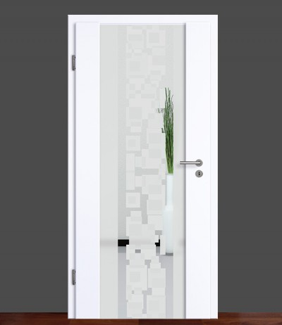 Zimmertür Innentür Türblatt Holzglastür Weißlack Vasti 71 Rundkante Glastür