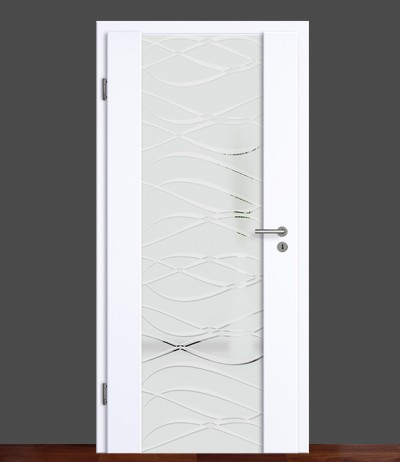 Zimmertür Innentür Türblatt Holzglastür Weißlack Vasti 72 Rundkante Glastür