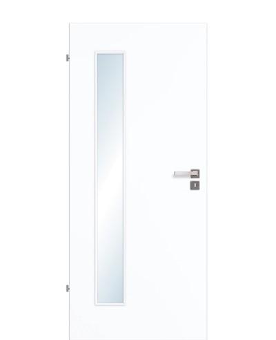 Innentür / Zimmertür Weißlack 9003 CPL schmaler Lichtausschnitt LA B 198,5cm