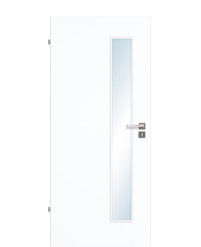 Innentür / Zimmertür Weißlack 9003 CPL schmaler Lichtausschnitt LA S 198,5cm