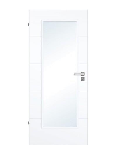 Designtür / Zimmertür Weißlack 9003 mit vier Streifen/Rillen quer und großem Lichtausschnitt LA1 211,0cm