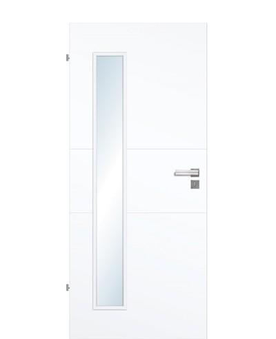 Designtür / Innentür Weißlack 9003 mit zwei Querstreifen und schmalem Lichtausschnitt LA B 211,0cm