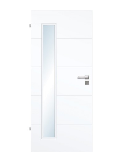 Shade Calvane GA5 LA8B Innentür Weißlack Vivid 9003 4-Querprägungen schmaler Lichtausschnitt bandseitig 211,0cm