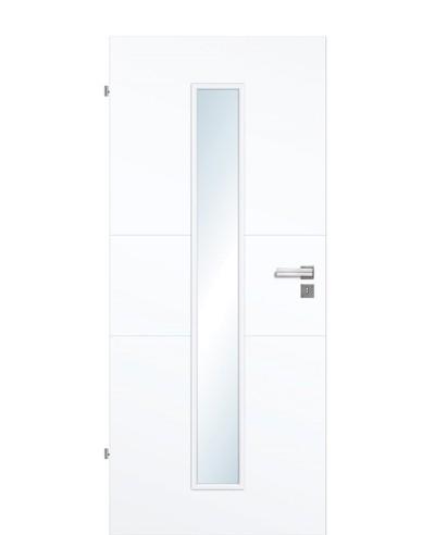 Designtür / Innentür Weißlack 9003 mit zwei Querstreifen und schmalem Lichtausschnitt LA M 211,0cm