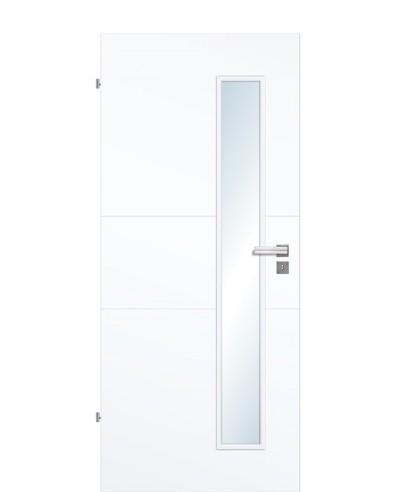 Designtür / Innentür Weißlack 9003 mit zwei Querstreifen und schmalem Lichtausschnitt LA S 211,0cm