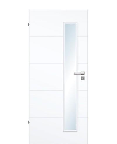 Designtür / Zimmertür Weißlack 9003 mit vier Streifen/Rillen quer und schmalem Lichtausschnitt LA S 211,0cm