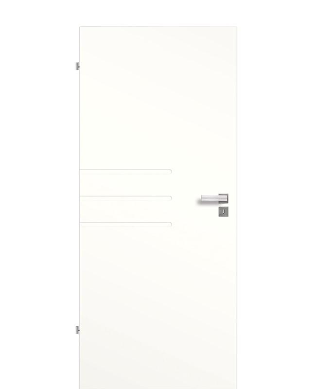 Innentür / Zimmertür Weiß 9010 mit drei halblangen Rillen-Querfräsungen (Streifen) 211,0cm