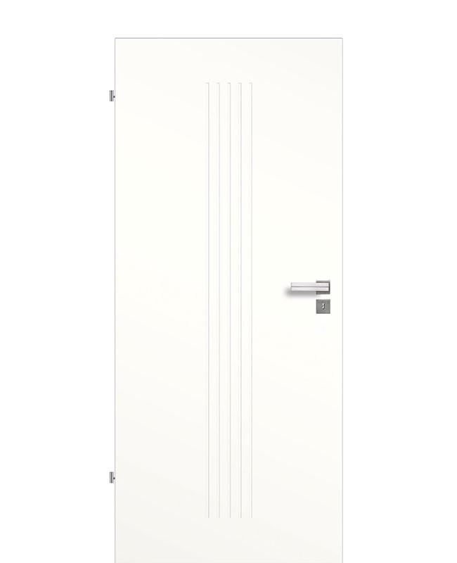 Designtür / Zimmerinnentür Weißlack 9010 mit fünf vertikalen Rillen/Streifen gefräst 198,5cm