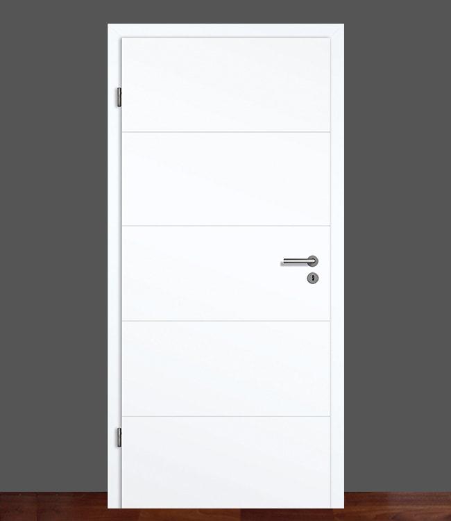 zimmert r mit zarge lackiert wei lack ral 9003 komplettset 70mm designkante ebay. Black Bedroom Furniture Sets. Home Design Ideas